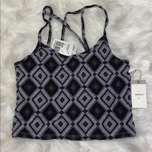 Strappy Printed Crop Top